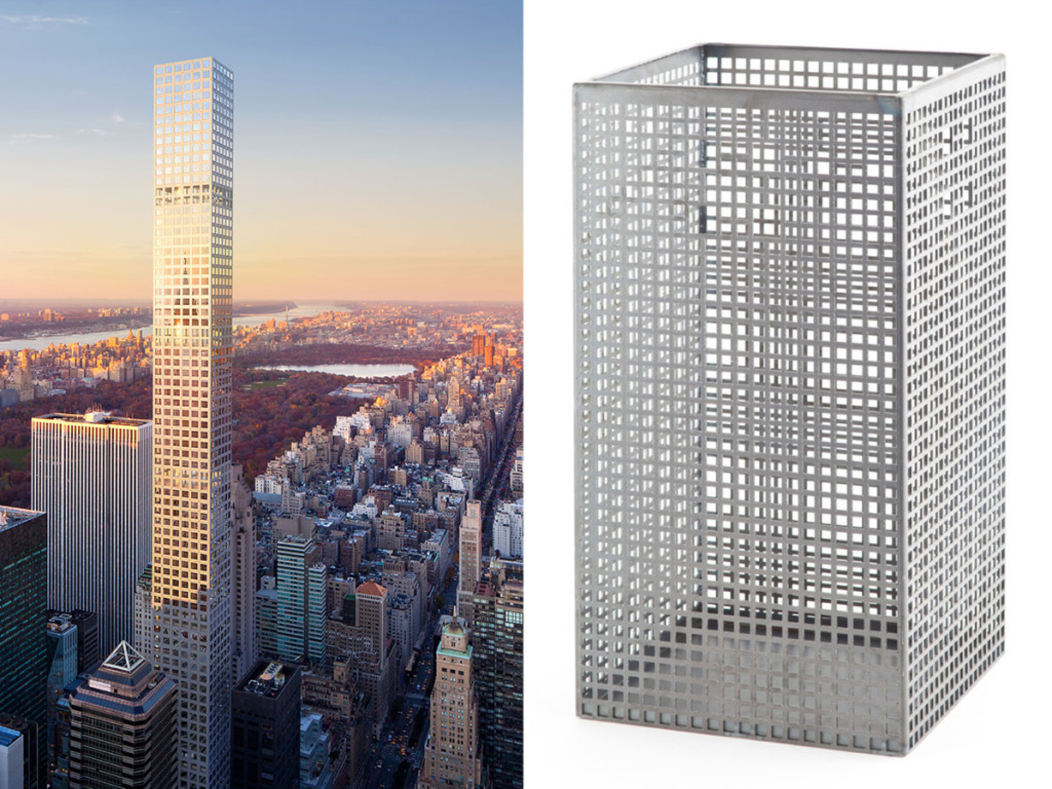 432 Park Avenue is the tallest residential building in the Western Hemisphere. It was inspired, say the architect and developer, by this 1905 trash can by Austrian designer Josef Hoffmann.
