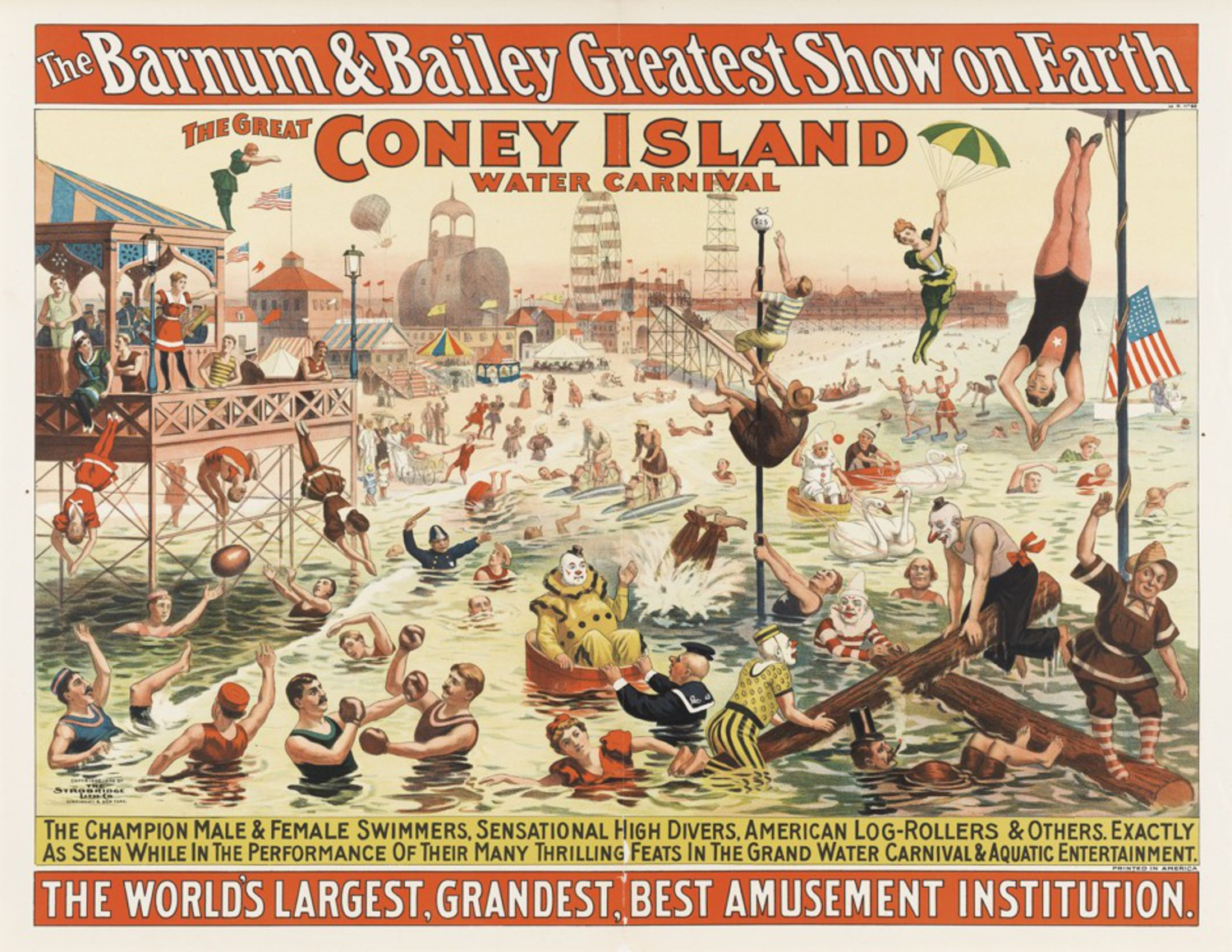 Strobridge Lithographing Company, The Barnum & Bailey Greatest Show on Earth / The Great Coney Island Water Carnival / Remarkable Head-Foremost Dives from Enormous Heights into Shallow Depths of Water, 1898, color lithograph poster, 38 7/8 x 28 3/4 inches, Cincinnati Art Museum, Gift of the Strobridge Lithographing Company, 1965.830