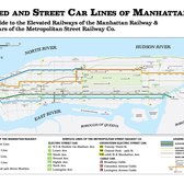 Map of the Manhattan transit system before the first subway was built. The year is 1899, and you get around the City by trolley, by cable car, and by noisy, dirty steam elevated railroad.