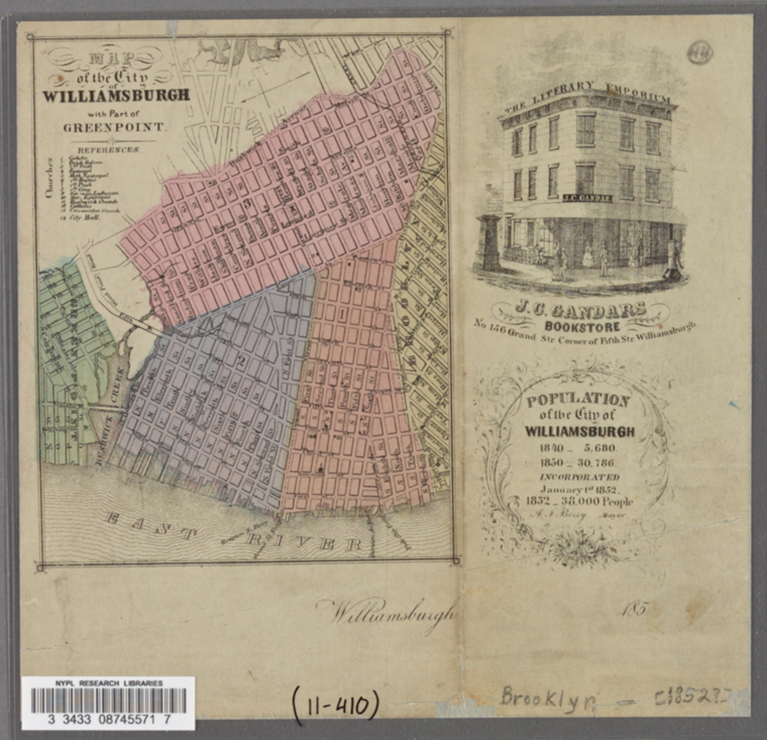 Map of the City of Williamsburg with part of Greenpoint (1852)
