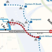 The proposed ferry route between North Williamsburg and Stuyvesant Cove