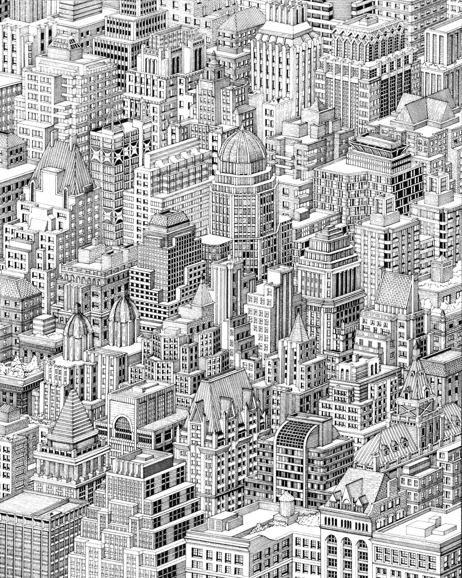 Manhattan Collage, Pen and Ink, 2020