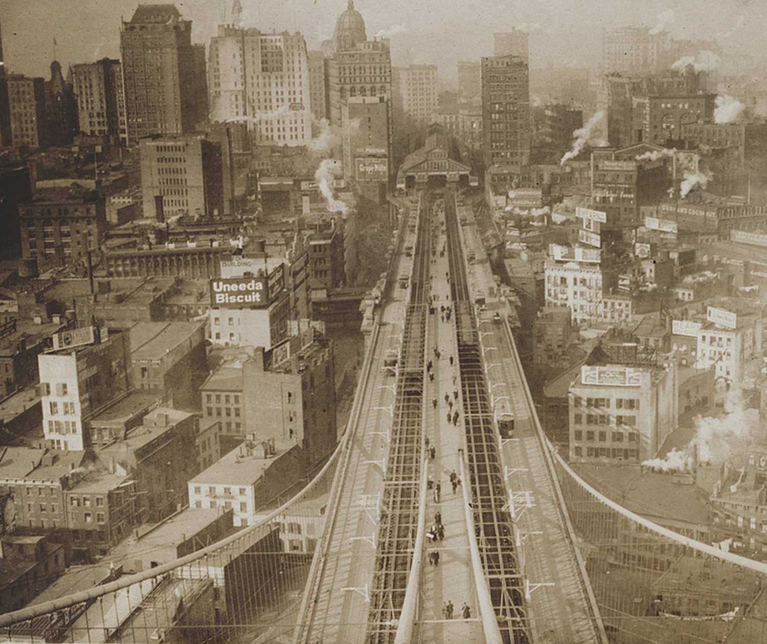Lower Manhattan As Seen From The Brooklyn Bridge Tower – c. 1905