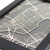 New York City Stainless Steel Laser Cut Map - 5x7 Framed