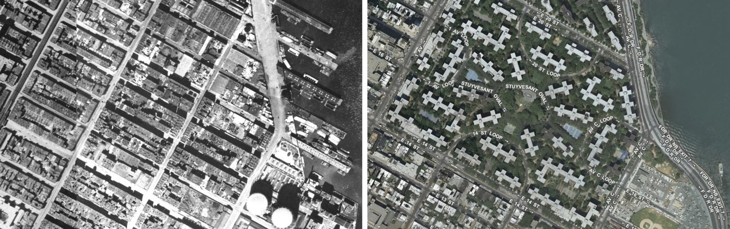 1940s Gas House District compared to today's Stuy Town.