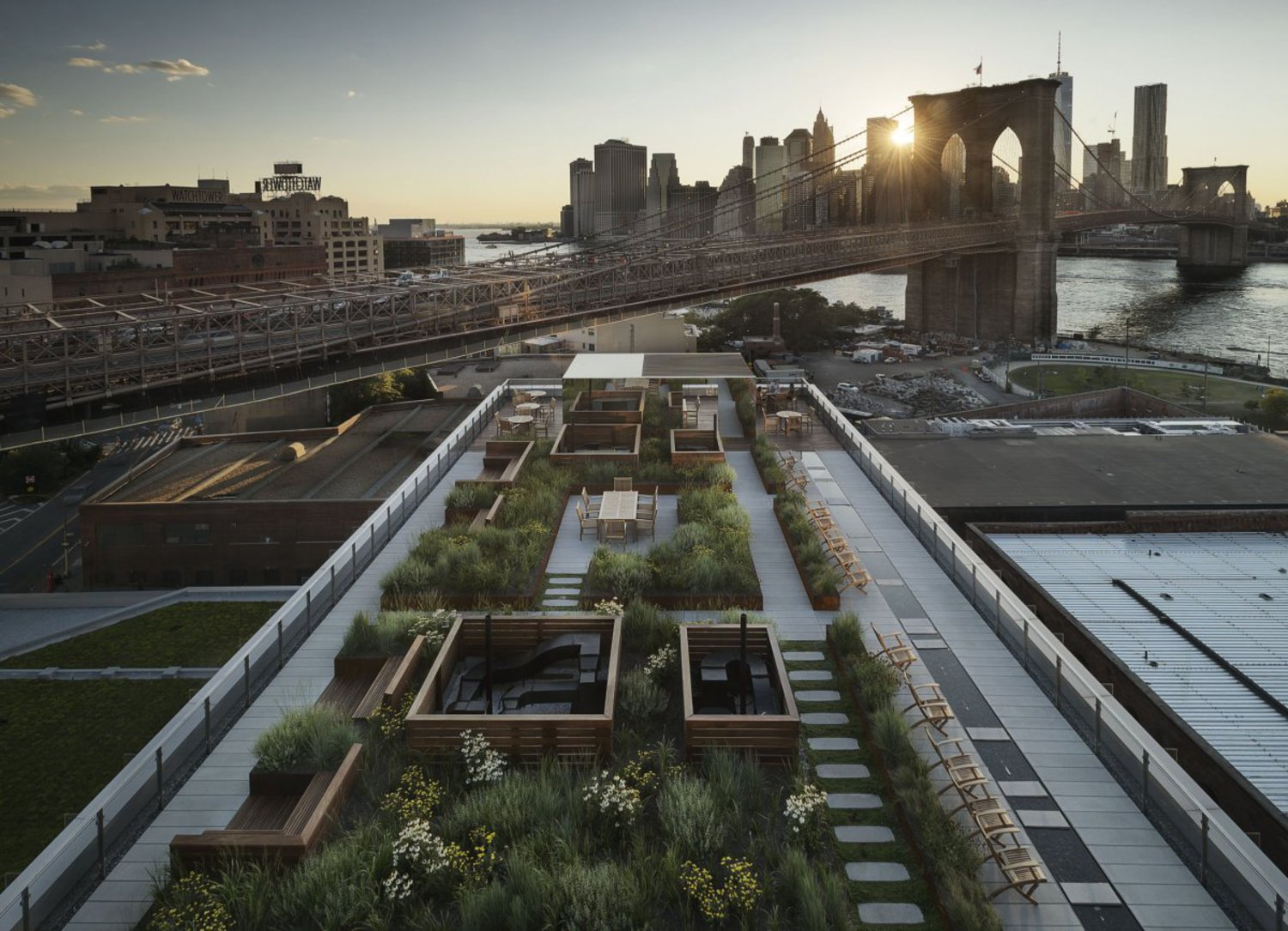 On top of the building is a fully landscaped, 6,000-square-foot roof deck.