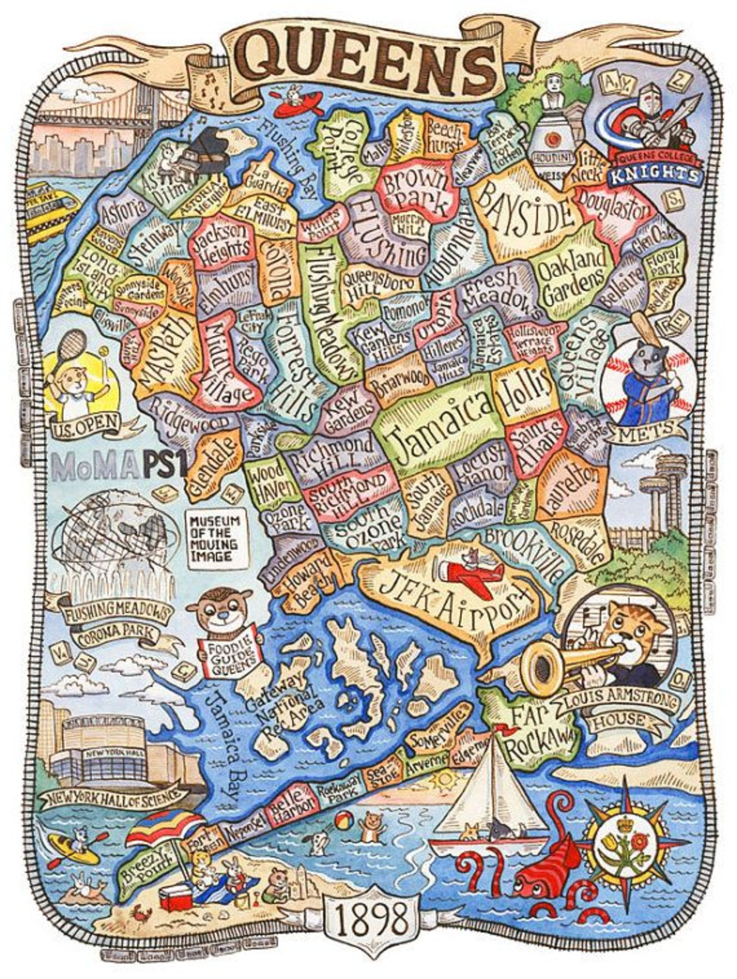 this cartoonish map of queens actually represents local