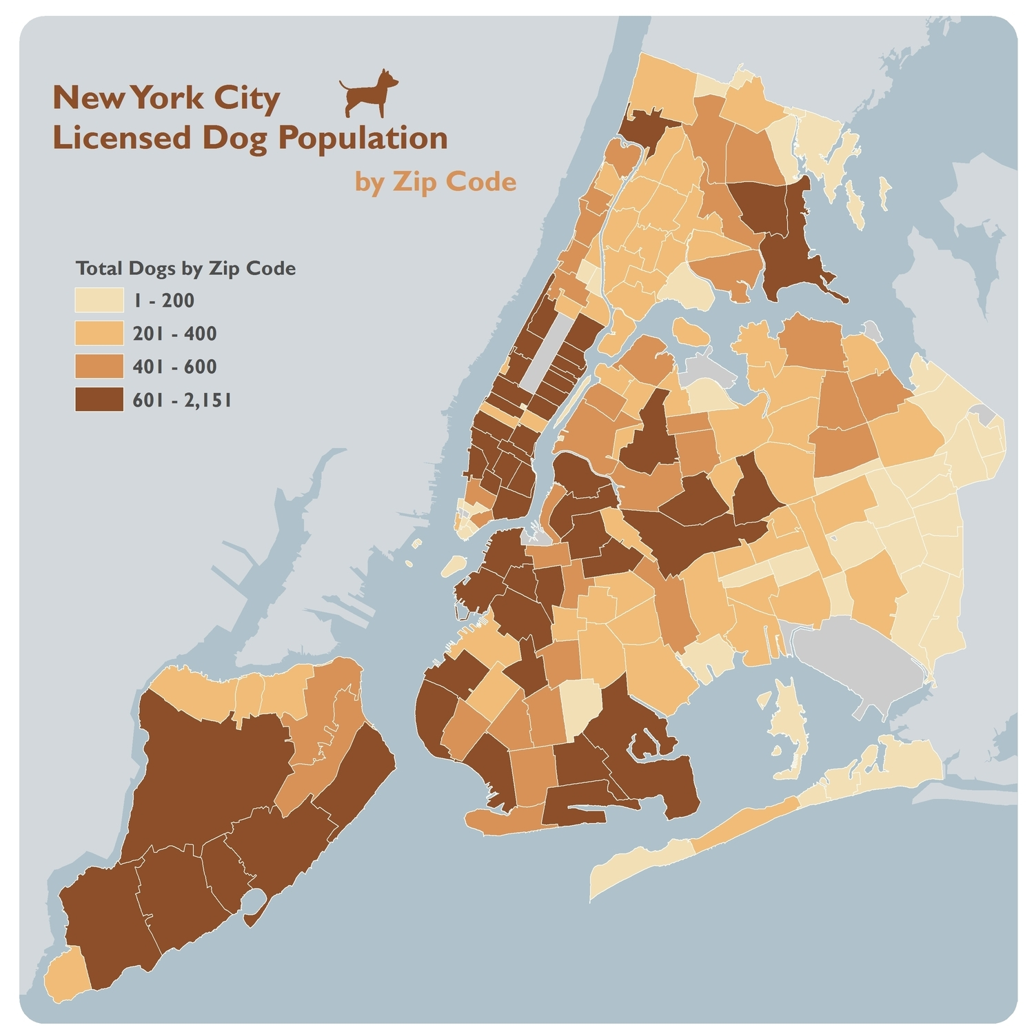 New York City Licensed Dog Population by Zip Code