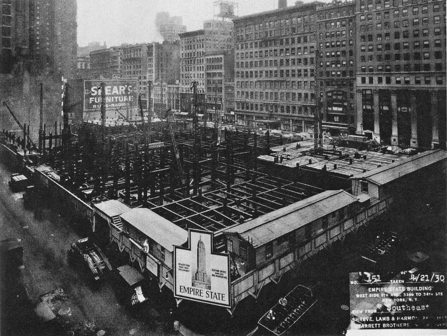 Empire State Building under construction, 1930