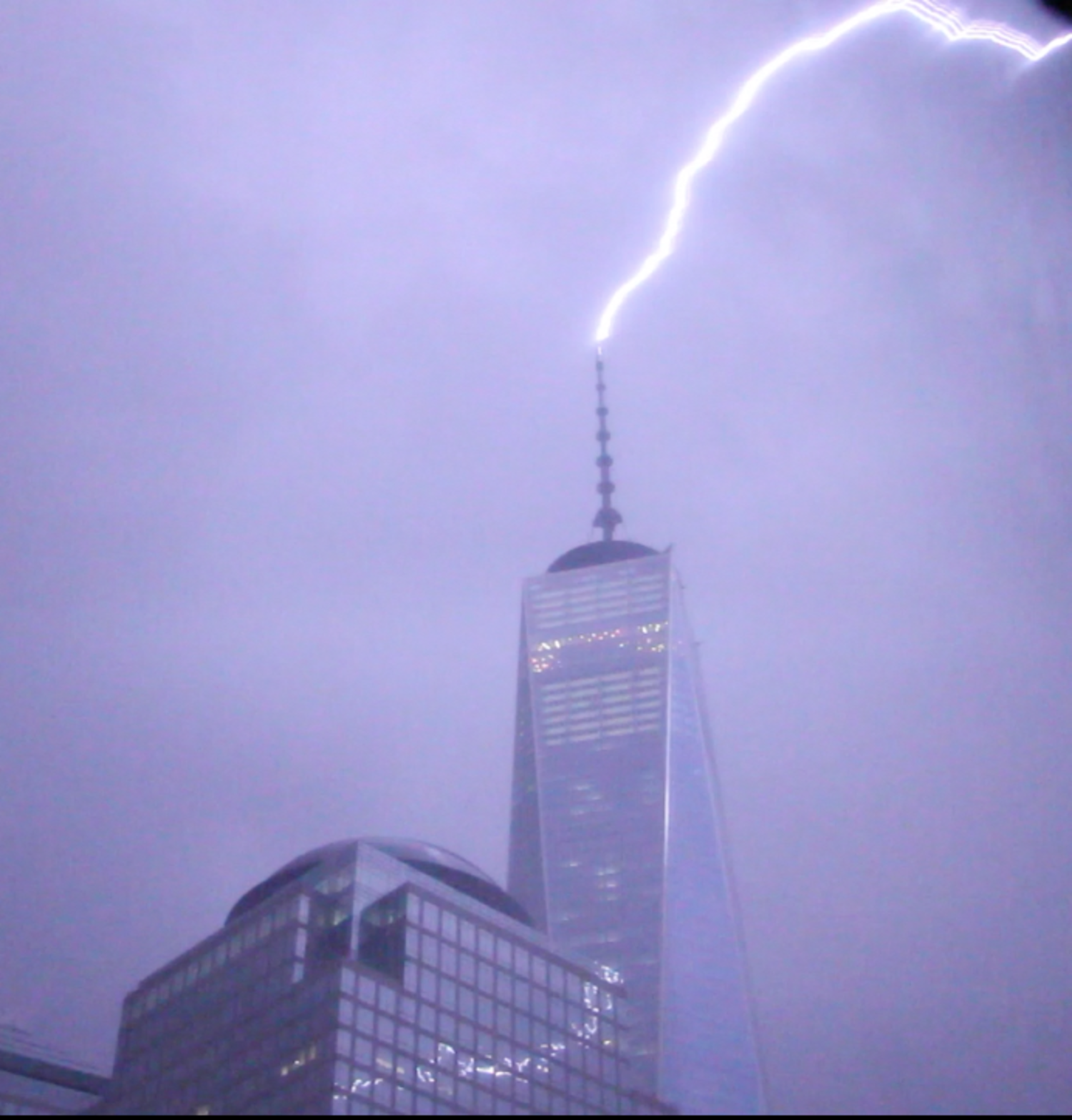 Capturing 2 lightning strikes early this morning at One World Trade Center