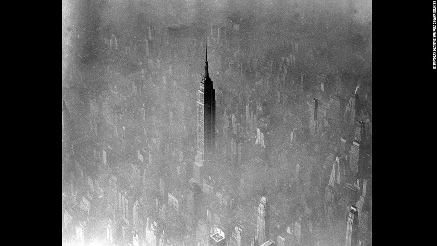 Fog eclipses nearly all of midtown Manhattan except for the 103-story Empire State Building, seen in this 1961 aerial photo.