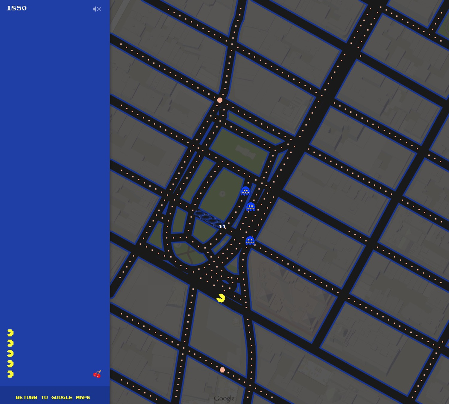Playing Pacman around Union Square, Manhattan
