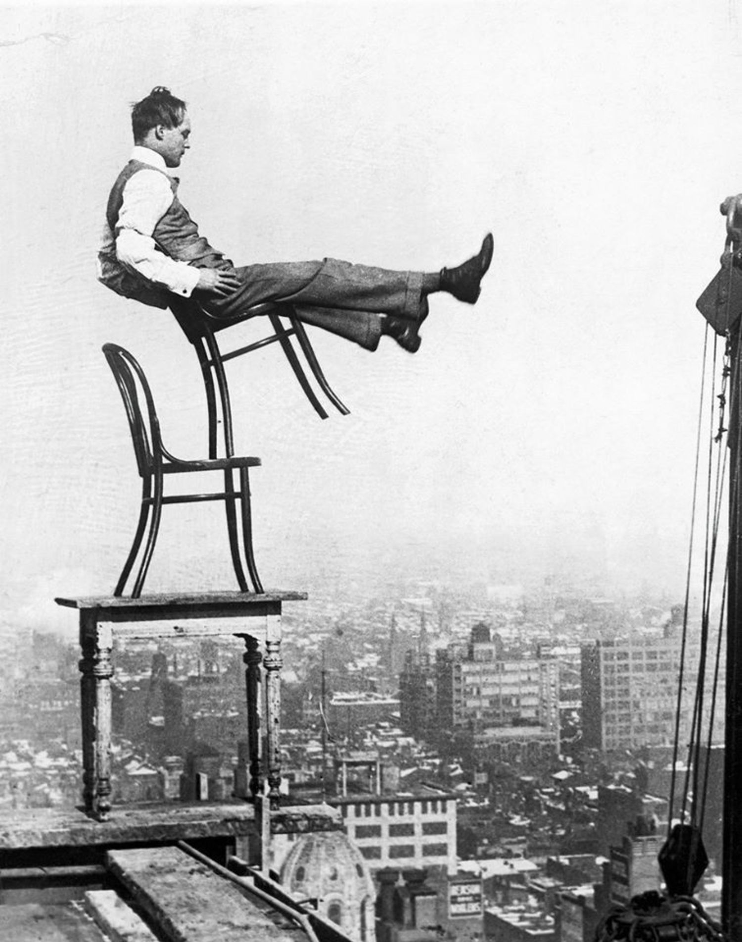 Vintage Photograph Shows Nyc Daredevil Balancing On A Stack Of Chairs 20 Stories Up Circa 1920 Viewing Nyc