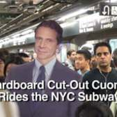 Cardboard Cut-Out Cuomo Rides the NYC Subway