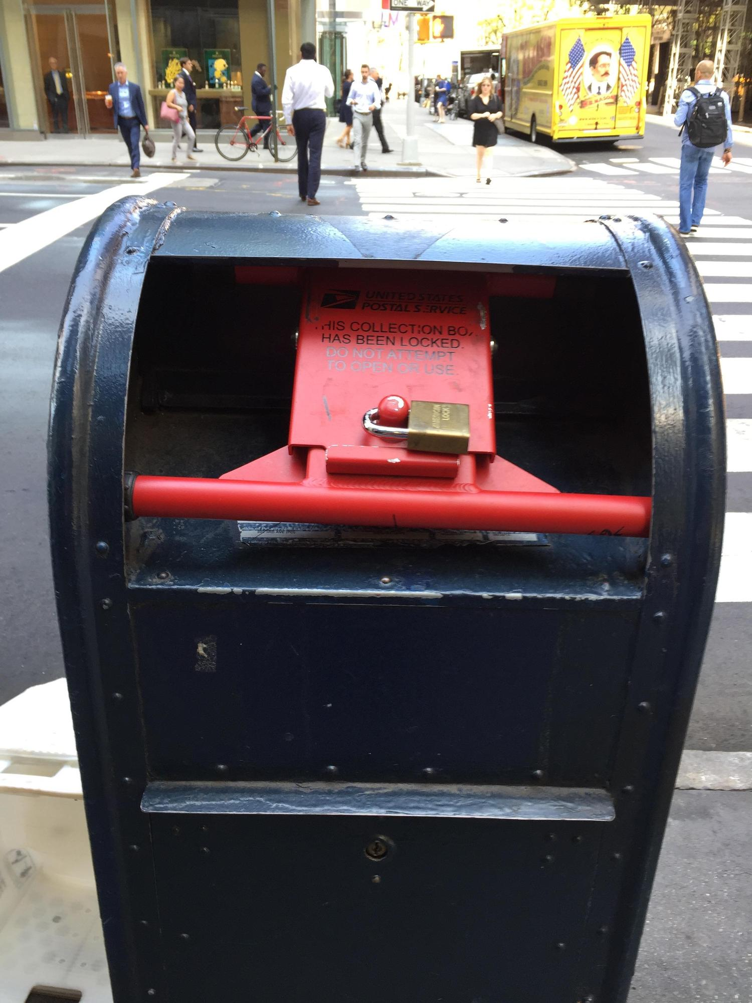 All the mail boxes near Trump Tower are locked