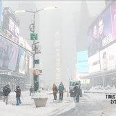 Snow scenes from Times Square New York City. 2021 Northeast snowstorm.