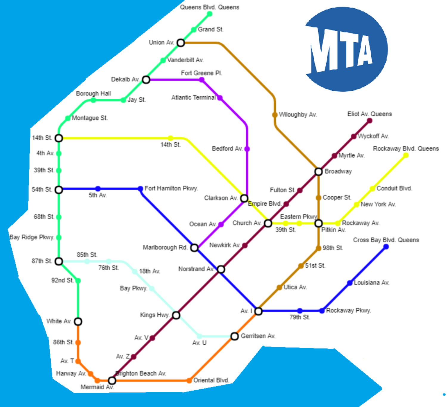 Subway Map of Brooklyn if every Subway Restaurant was a station