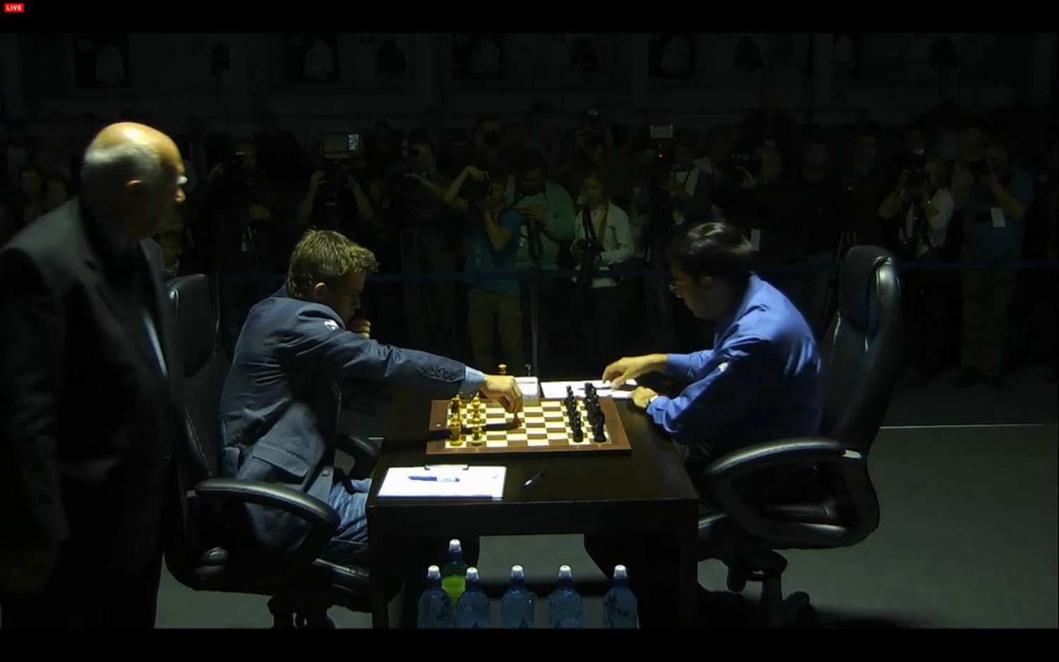 Who said Chess was Boring? | Screen shot (today) of the first move in game 4 from the exciting World Chess Championship in Sochi (Russia)  between Magnus (Norway) Carlsen and Vishy Anand (India)