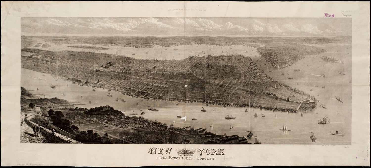 New York, from Bergen Hill, Hoboken, 1876