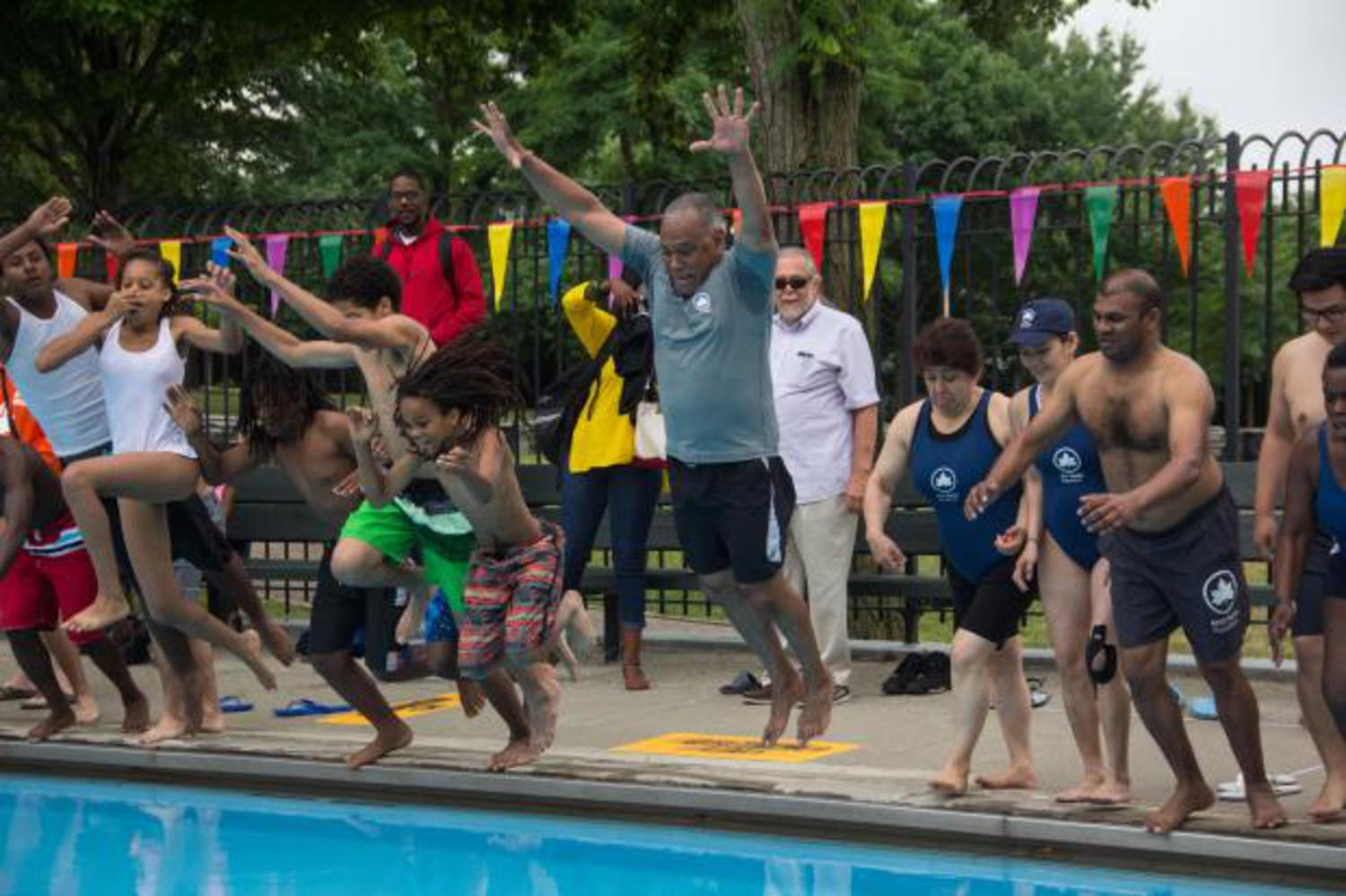 Parks Commissioner Mitchell Silver kicked off the city's public outdoor pool season by taking a dip in Faber Pool.