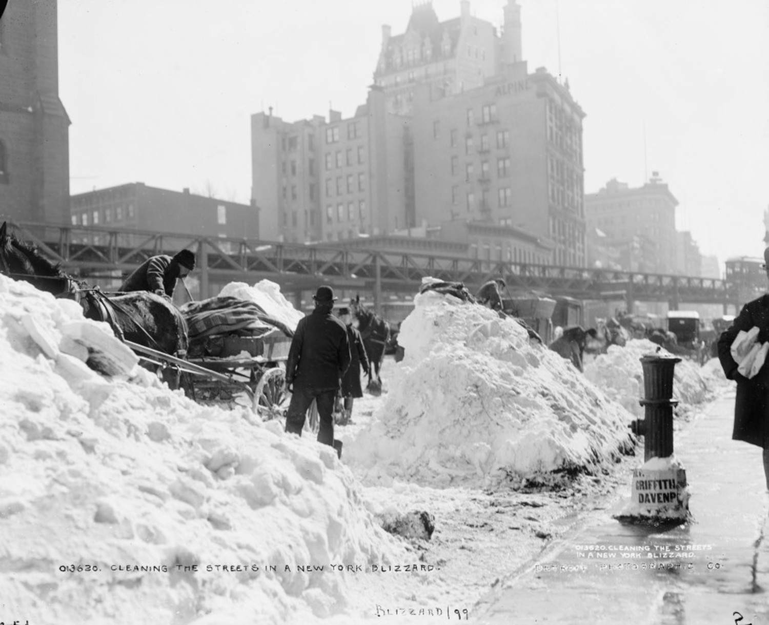 1899 Cleaning up after New York's blizzard of 1899 photo Detroit Publishing