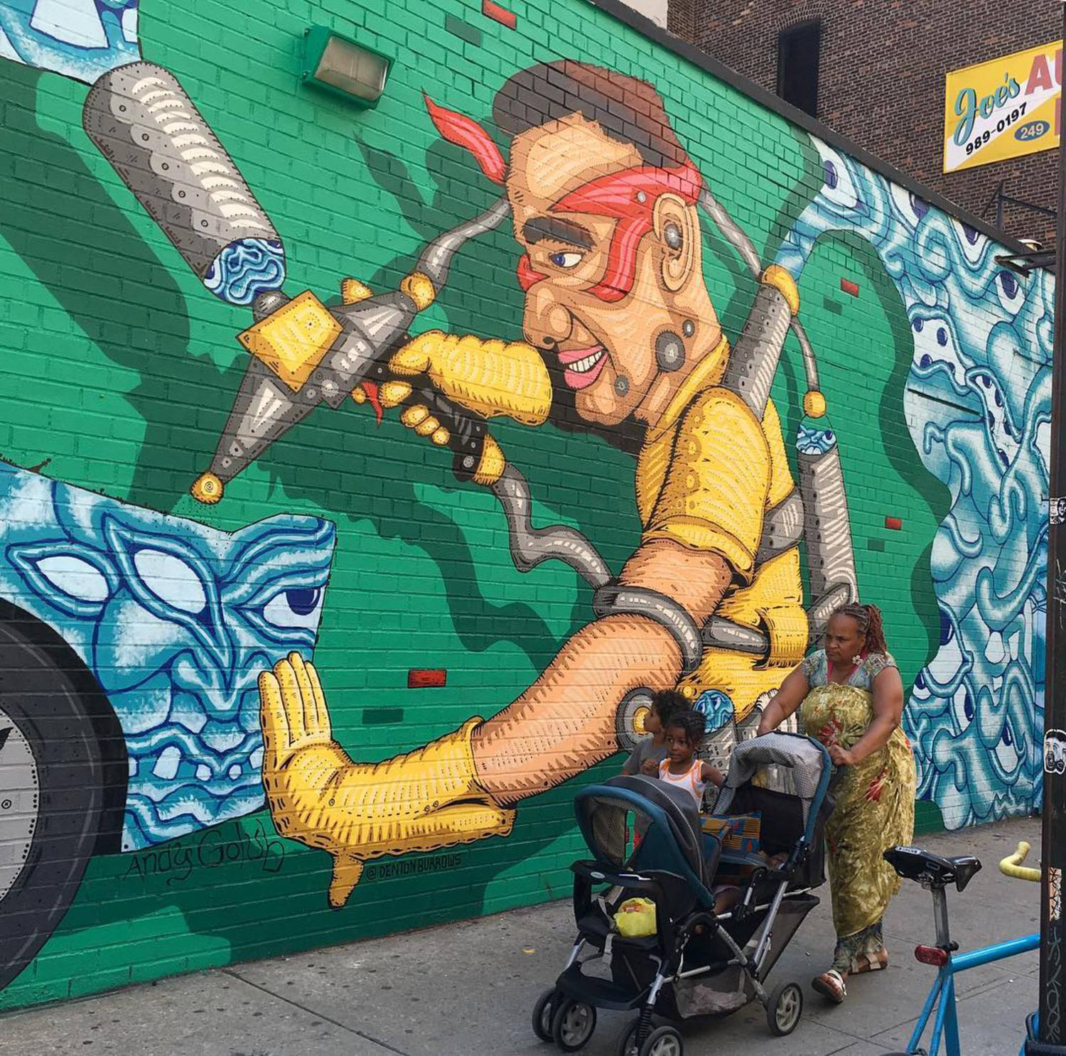 Cool colab by @andygolub & @dentonburrows on 25th & 10th Ave #streetart #streetartnyc