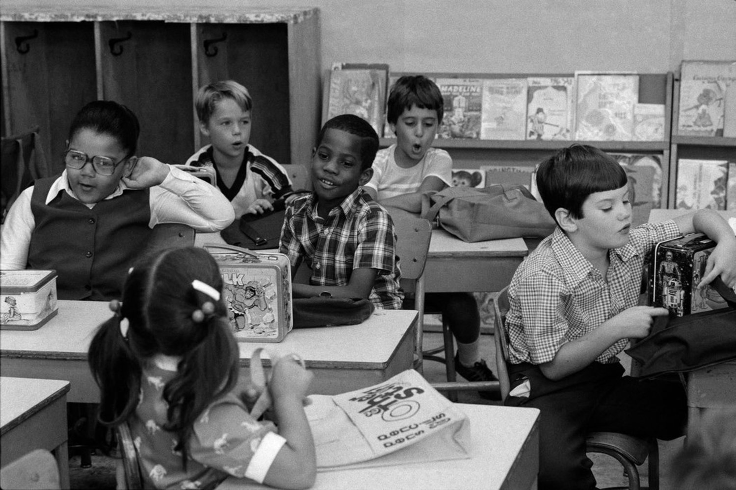 1980s - September 1980: New lunchboxes and post-vacation greetings occupied children at Public School 207 in Brooklyn.