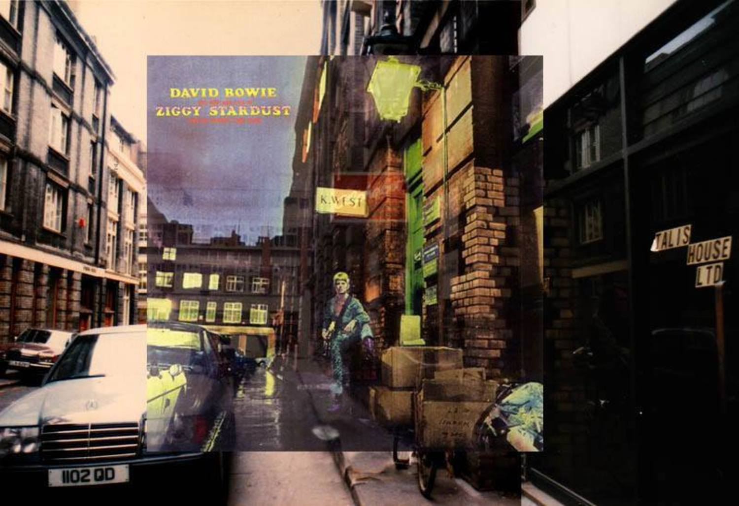 DAVID BOWIE - THE RISE AND FALL OF ZIGGY STARDUST AND THE SPIDERS FROM MARS (1972, RCA). . .Location: 23 Heddon Street (central London near Carnaby Street). . .Cover photo by Brian Ward. Artwork by Terry Pastor for Main Artery. . .  Background photo taken in 1987. . .The cover shot was one of 17 shots taken in black and white and was later colorized for the cover. . .For more photos of this location see http://www.popspotsnyc.com/london/ )