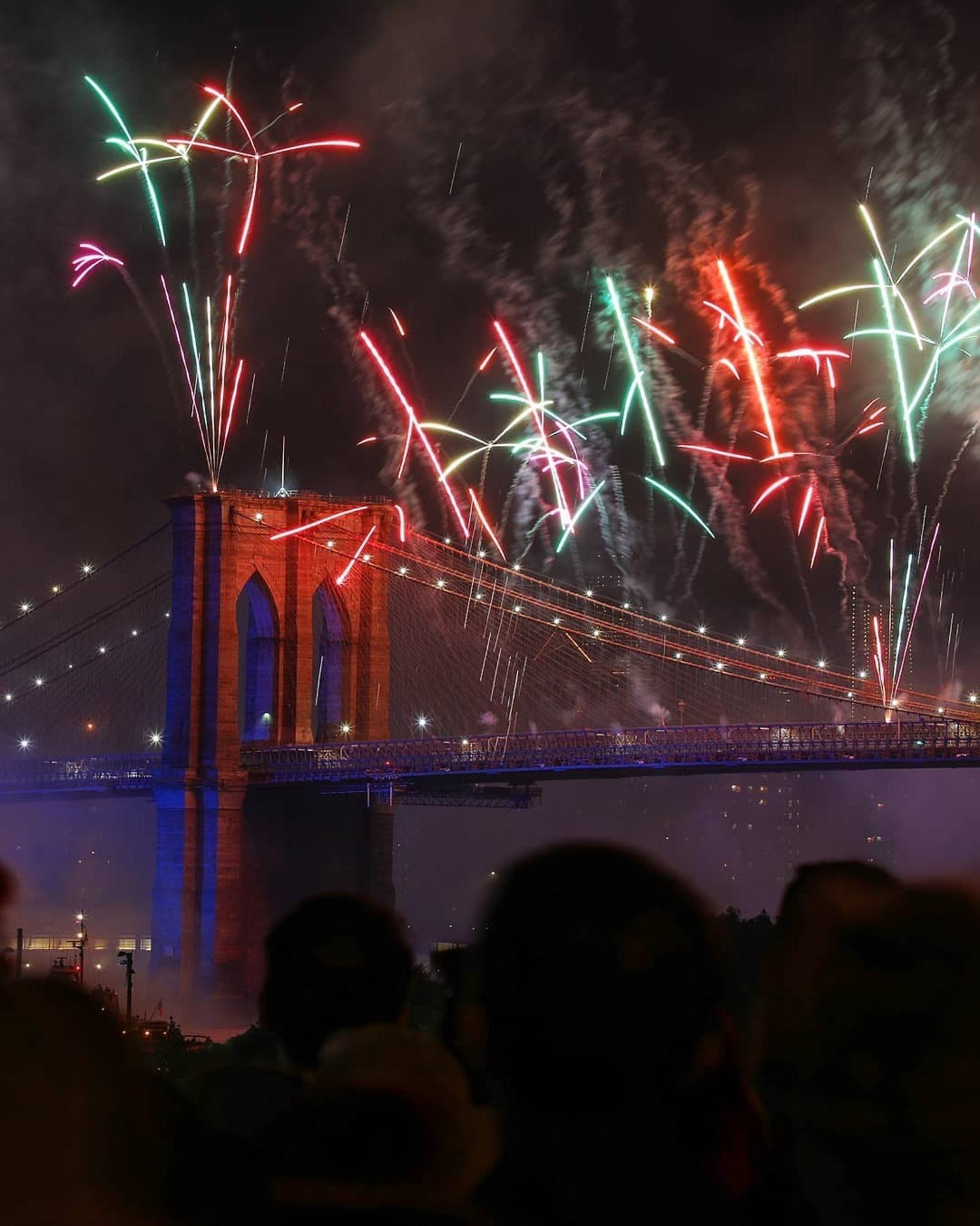 The 2019 Macy's 4th of July fireworks display over the Brooklyn Bridge