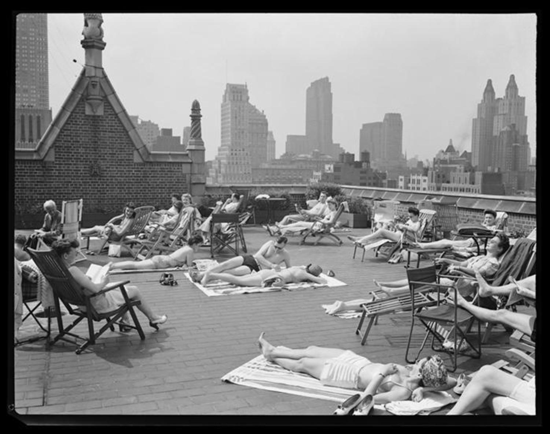 Sunbathing New Yorkers, Tudor City, 1943