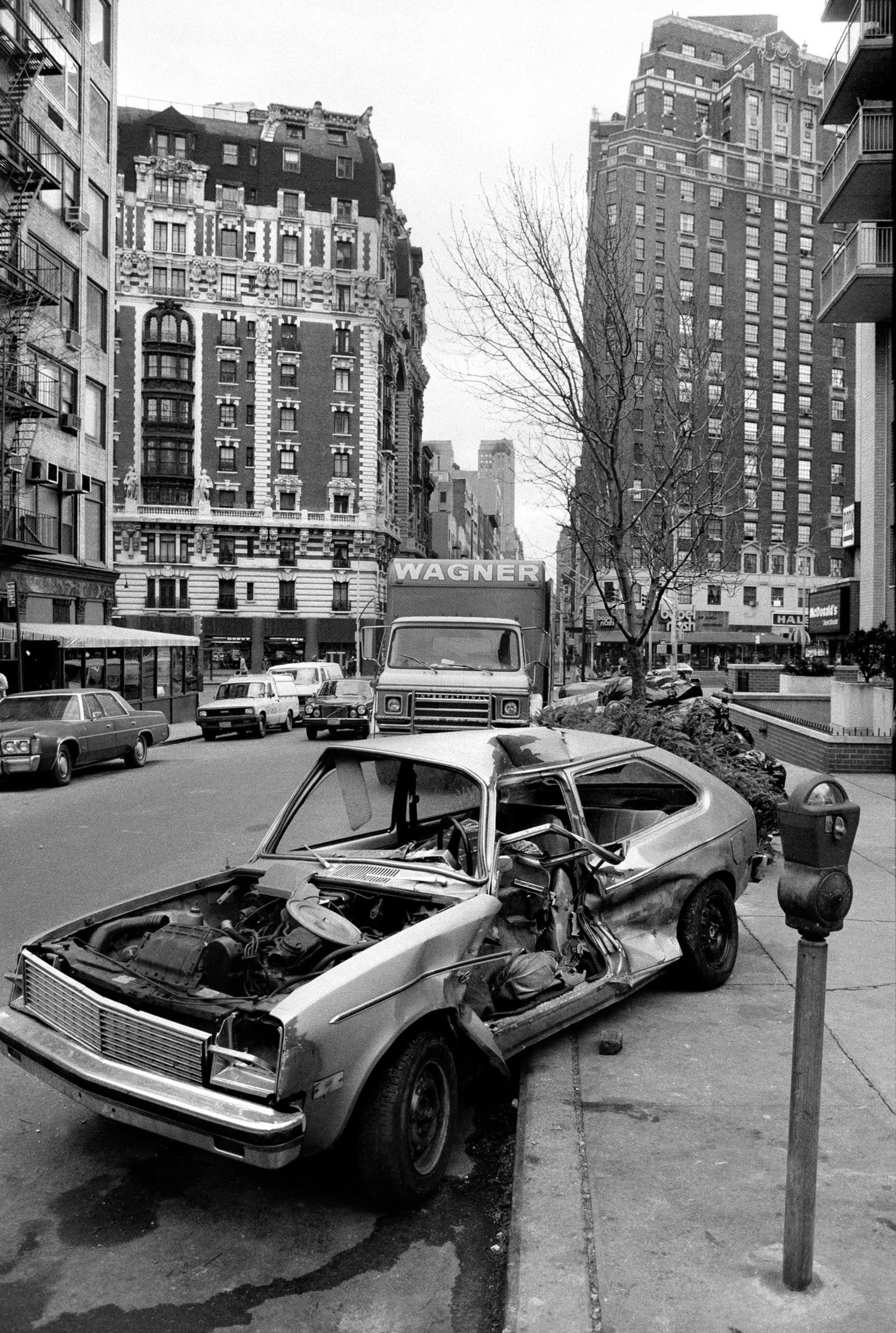 An abandoned car on West 71st Street near Amsterdam Avenue was not towed away for more than three weeks. Jan. 7, 1984.