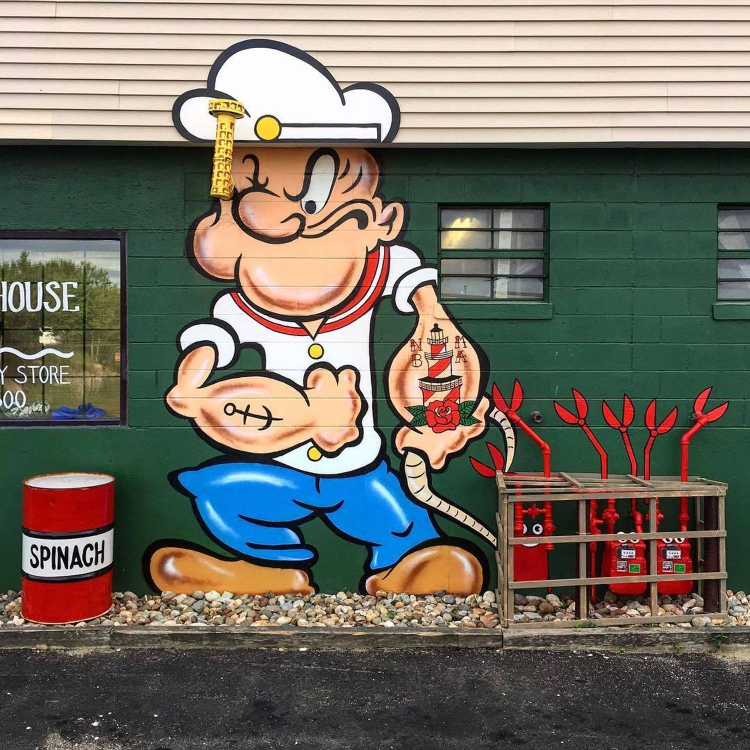 POPEYE #⚓️ hauling in the #lobsters #🦀🦀 #eyeballin #👀 #spinachcan #🌿#newbedford #🐳#massachusetts #streetart #tombobnyc #mural @lighthousesupply_nbma #popeye #💪🏼 #thesailorman #nbma #🐋 #popeyethesailorman #tombob #stencilart #oneyearago