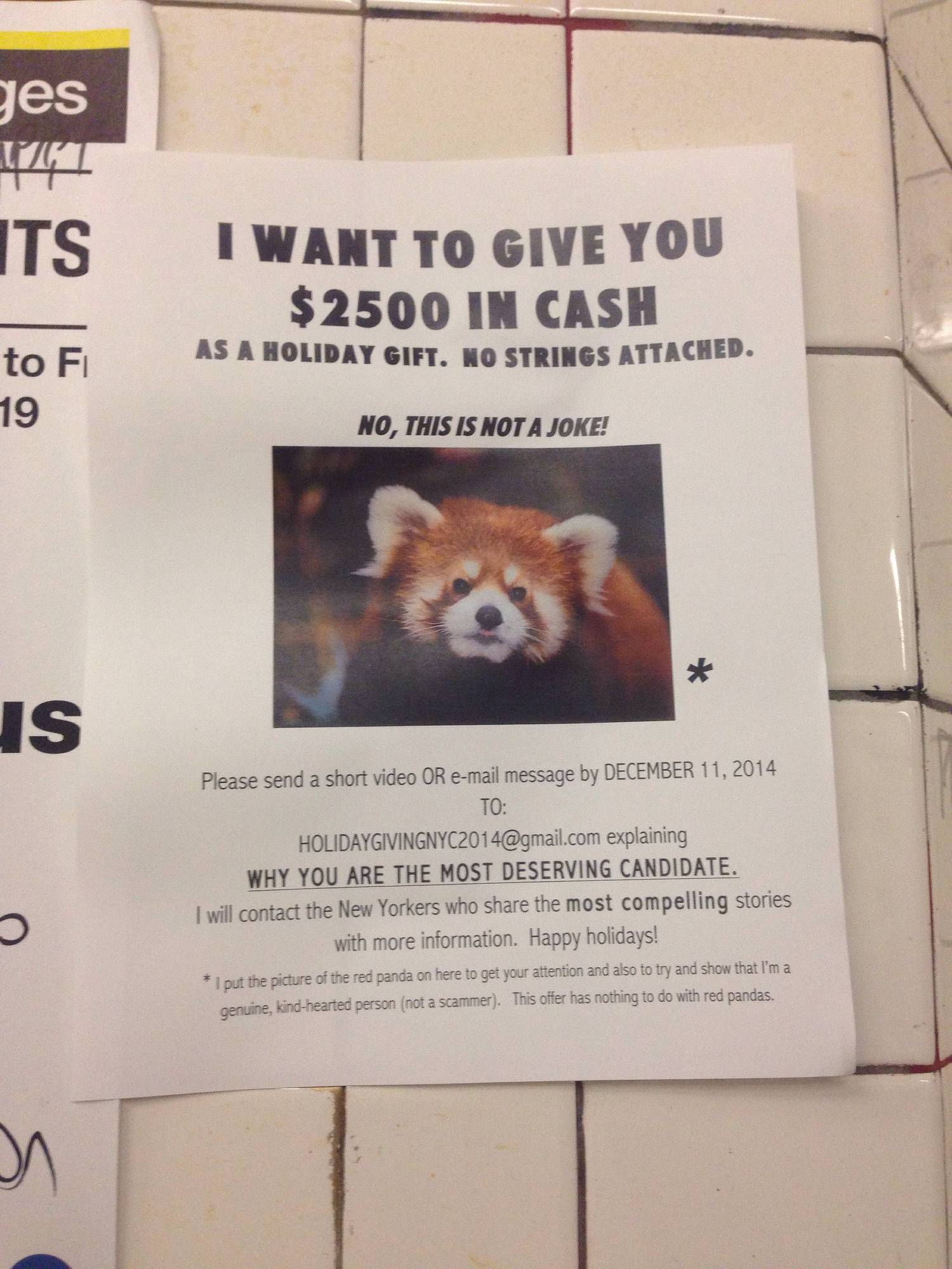 I WANT TO GIVE YOU $2500 IN CASH