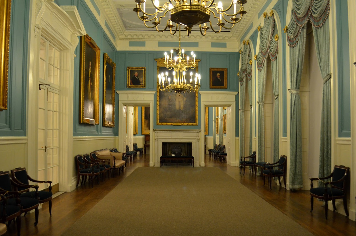 Most rooms within the Hall are not locked, except for one, the Governor's Room, which is normally opened only for tours, or special guests.
