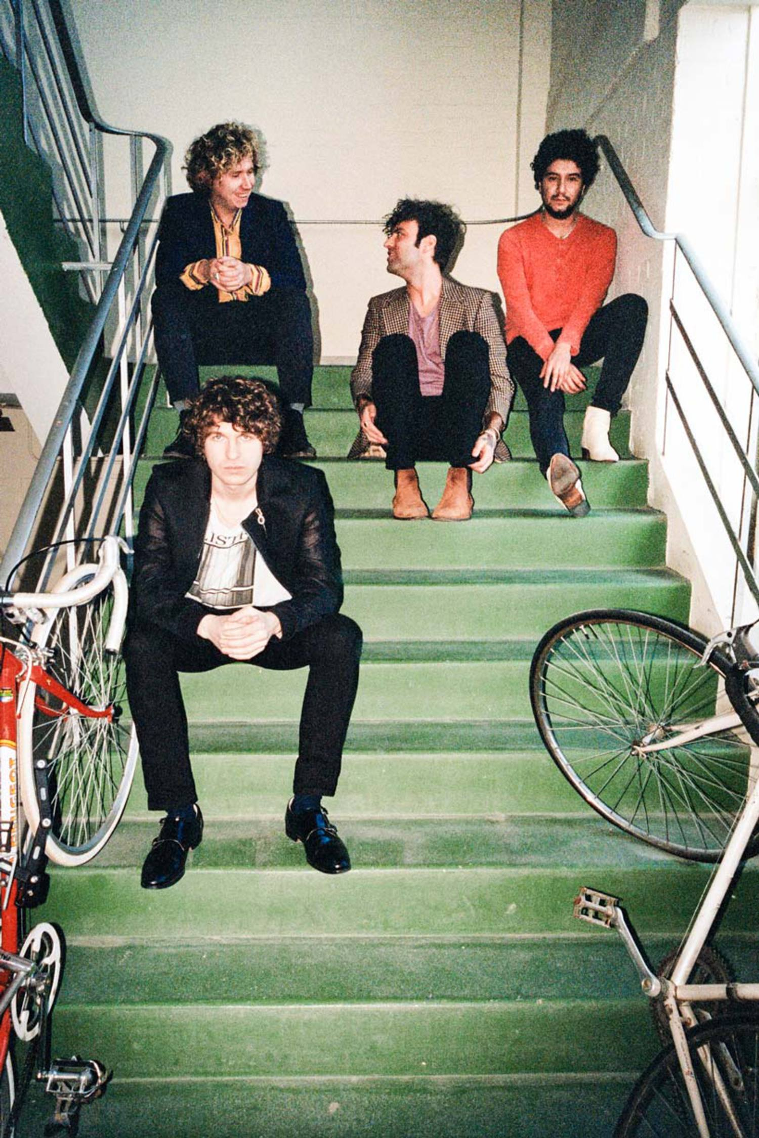 Press shot of The Kooks: (Top left to right) Hugh Harris, Pete Denton, Alexis Nunez, and Luke Pritchard (Bottom left)