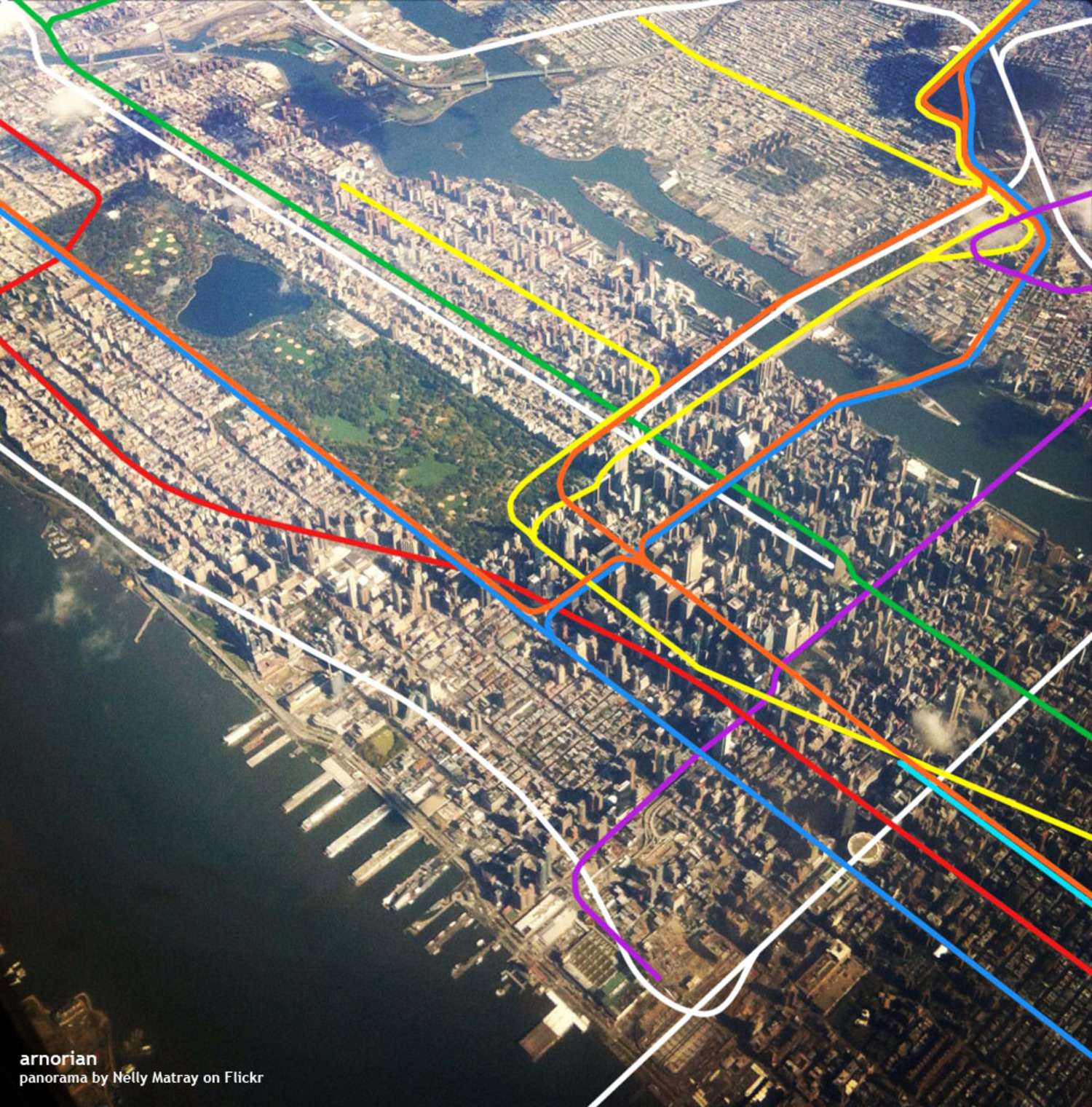 A skyview of Manhattan with overlayed subway and rail lines. 7 Subway Extension, the first phase of the Second Avenue Subway, and East Side Access included.