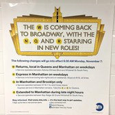 MTA puts up flyers touting the W train's November 7th return