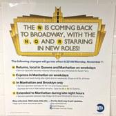 MTA puts up flyers touting the W train's November 7th return