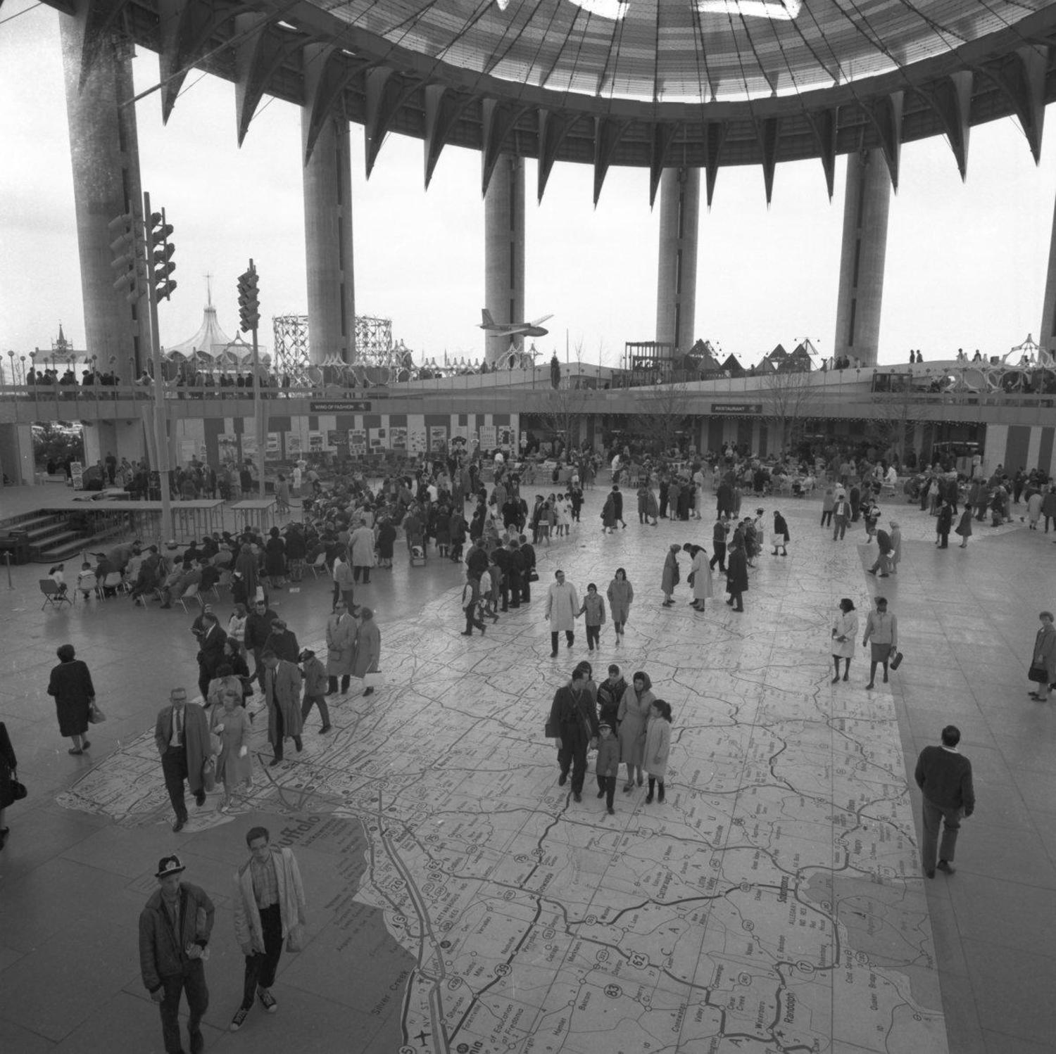The Tent of Tomorrow in the New York State Pavilion from the 1964-65 World's Fair. At what is now Flushing Meadows-Corona Park in Queens. On the floor the largest map in the world at the time, a 130-by-166-foot map of New York State.