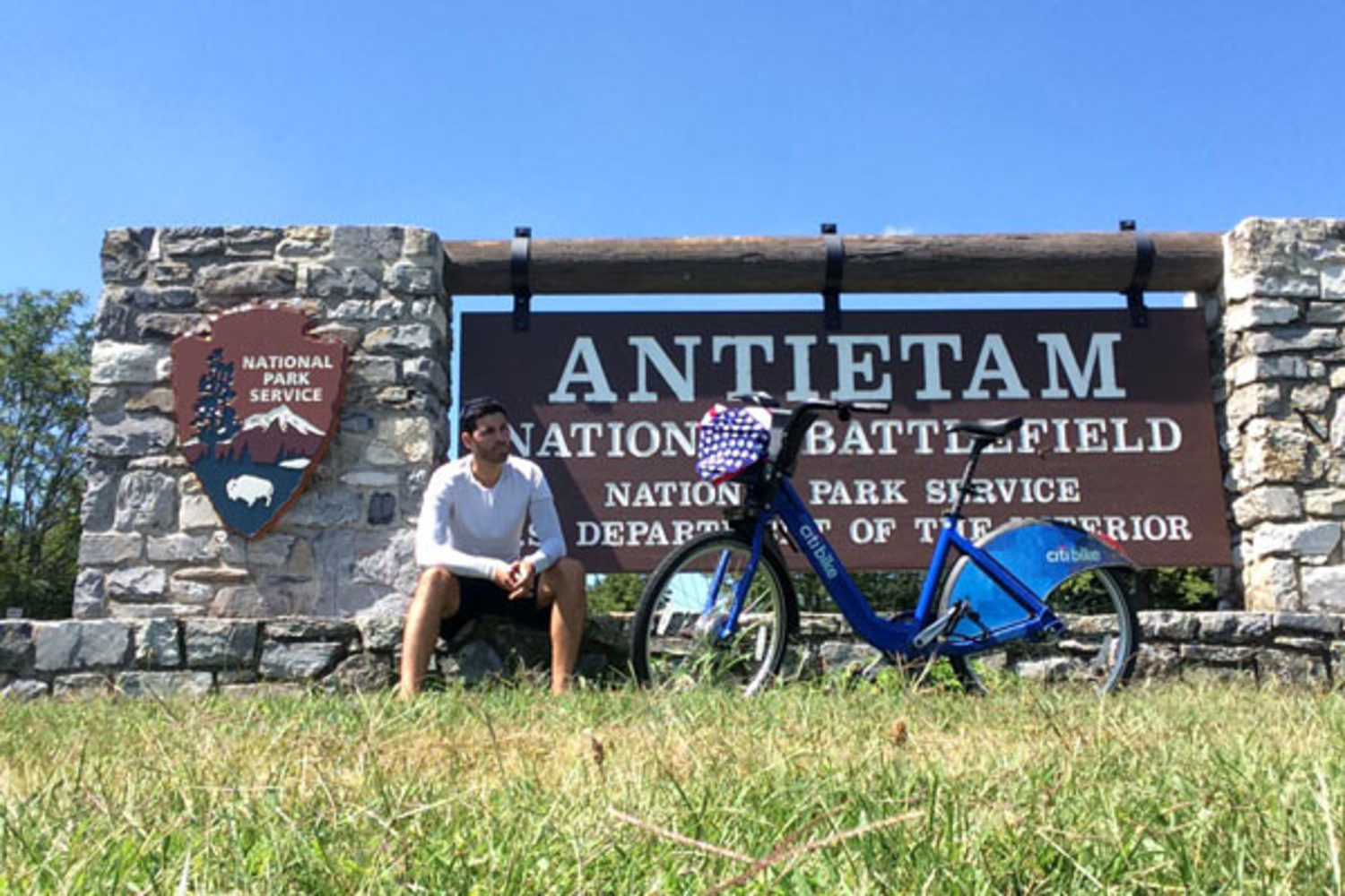 Seeing America by bicycle: A pause in Sharpsburg, MD at the historic Civil War battlefield.
