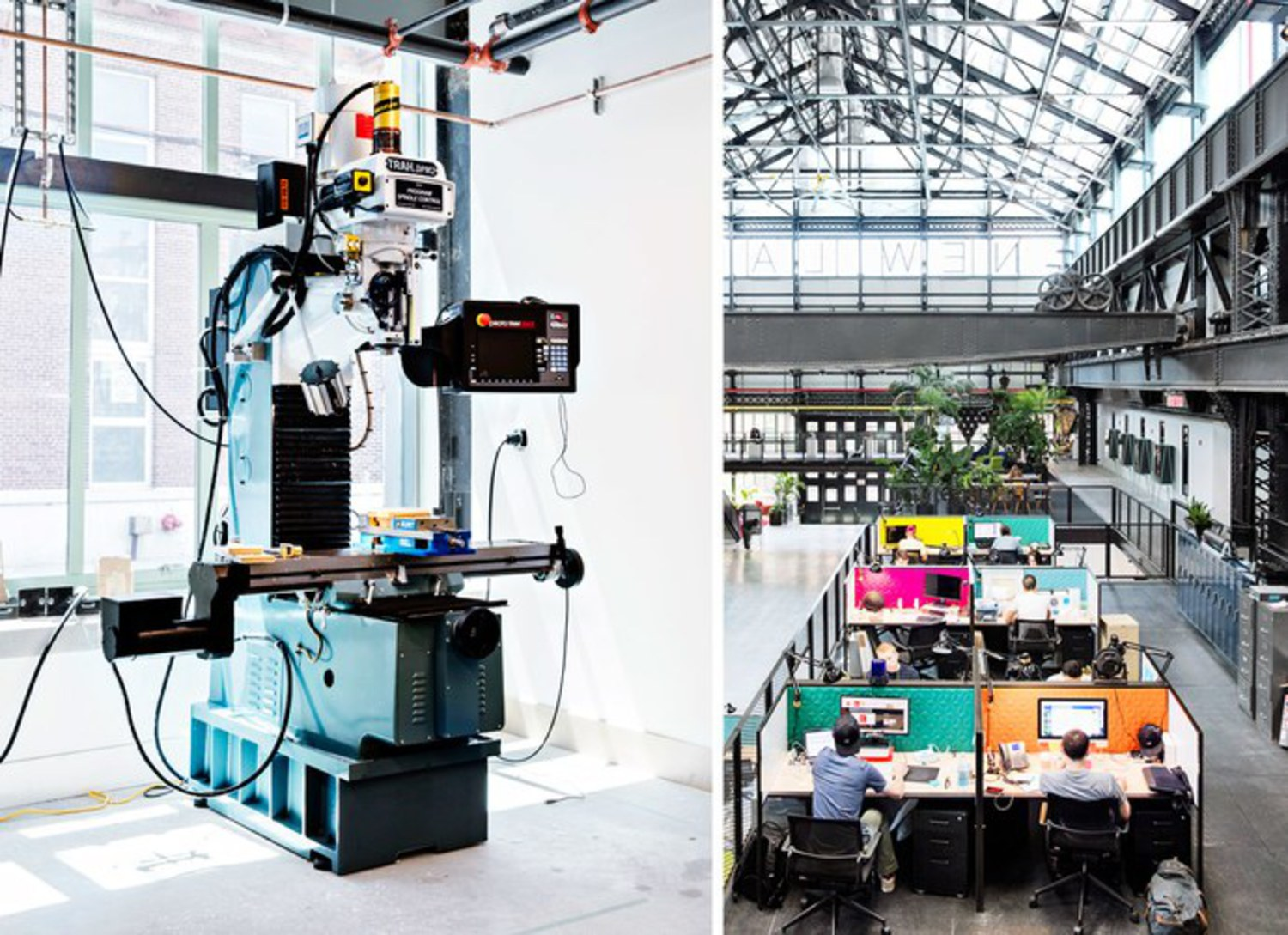 Left, a milling machine in the prototype shop; Right, New Lab, a center for engineers, designers, and entrepreneurs under one roof.