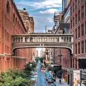 The Chelsea Market Skybridge originally connected the Nabisco factory and its neighboring office building. Now the skybridge serves two private office spaces. The skybridge is located at West 15th Street in Chelsea, Manhattan, New York City.