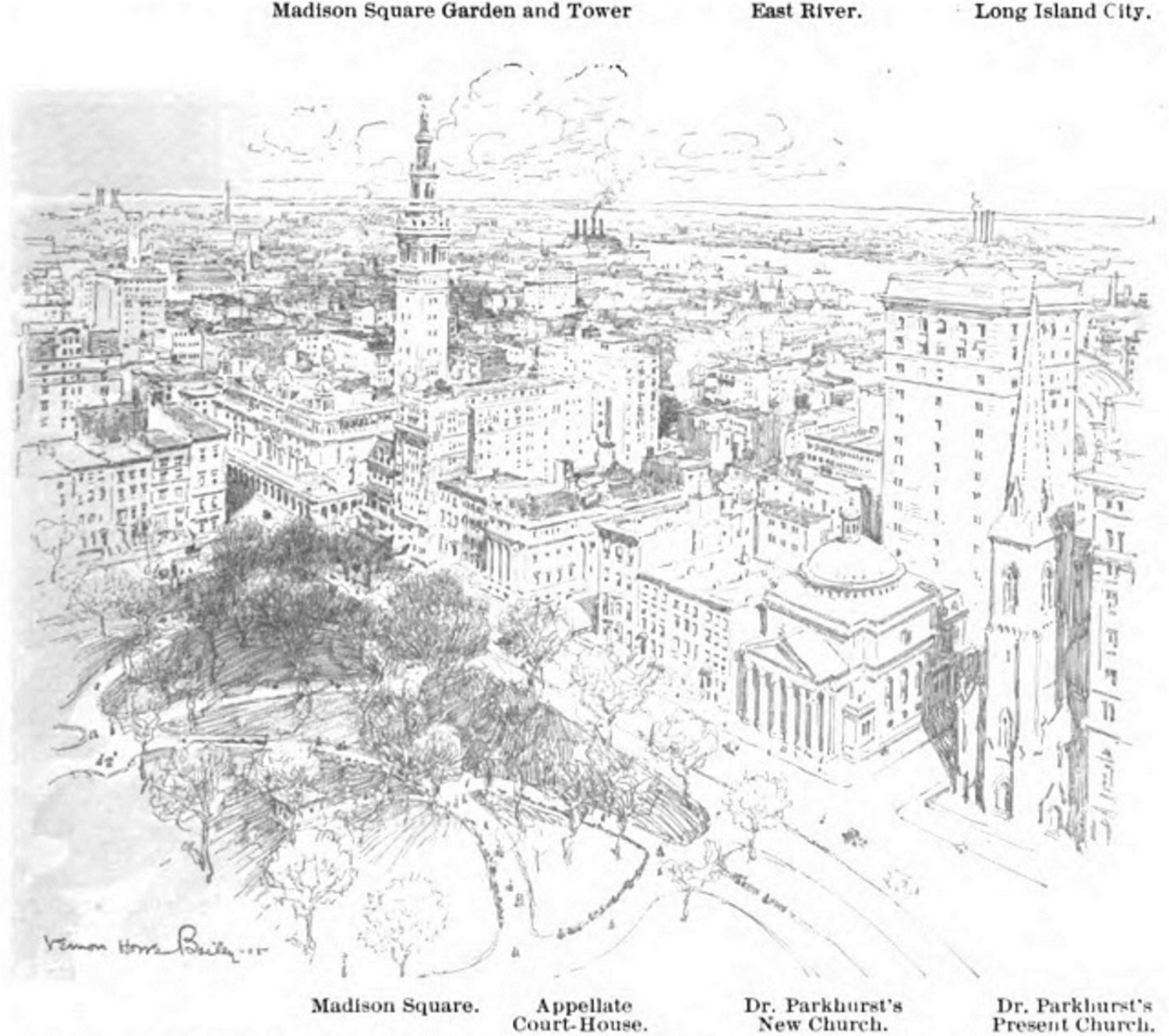 """New York from the Flatiron: Looking to the Northeast."" Munsey's Magazine, July, 1905"