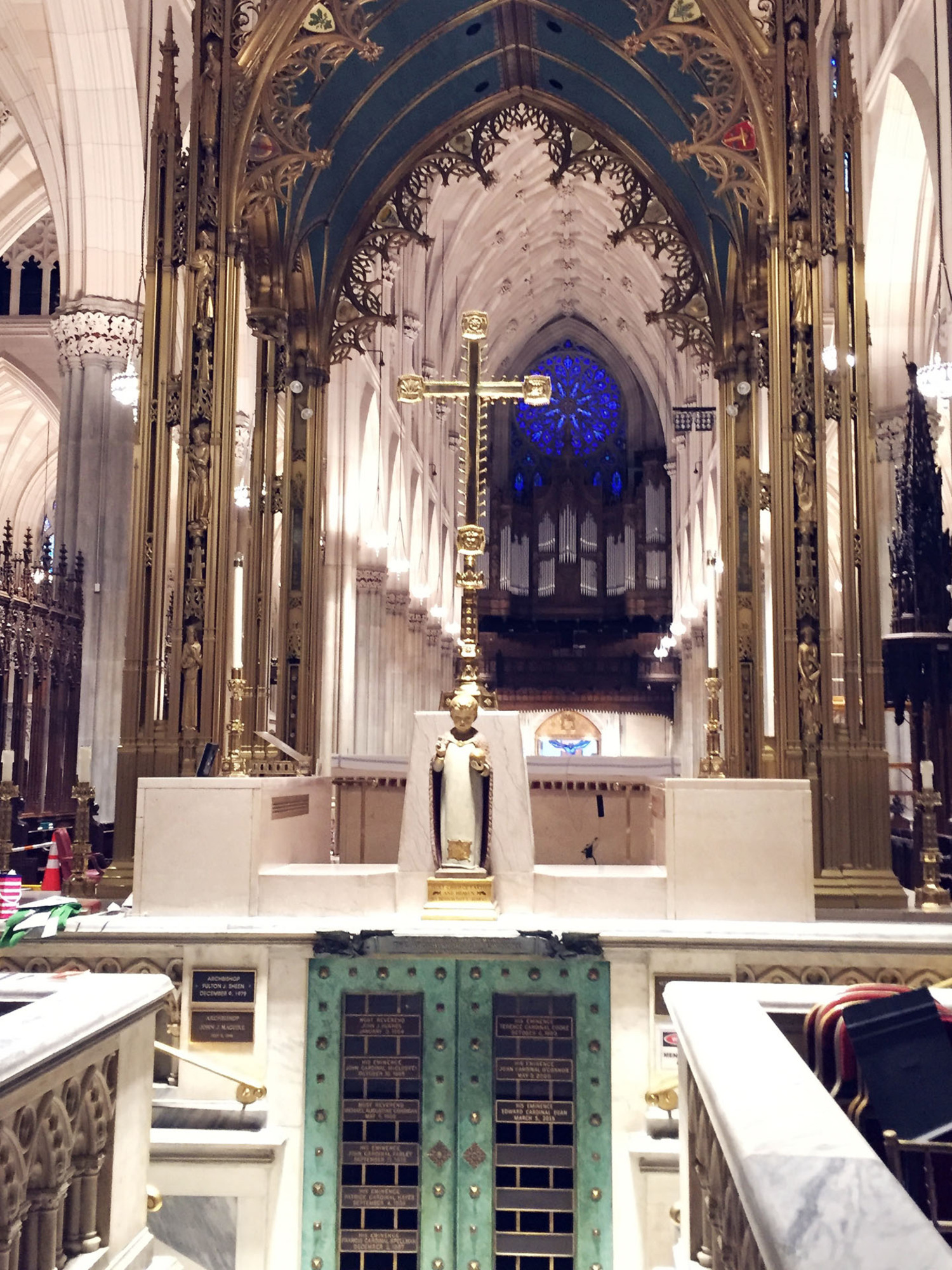 St. Patrick's Cathedral Restored Gold Ornamentation