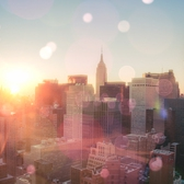 New York City… Squinting into the sunset with love in the eyes…