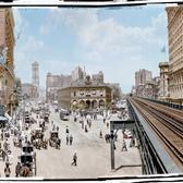 Herald Square, N.Y., N.Y., 1905. Colorized by Zoe Martin
