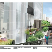 A view of the newly planned section of the High Line, including a passage way that runs underneath a Hudson Yards office tower and leads to a piazza above 10th Avenue.