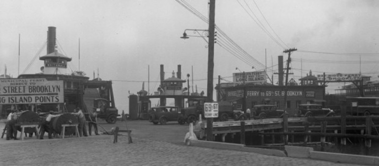 Loading vehicles at the 69th St. Ferry at St. George. Photo circa 1933