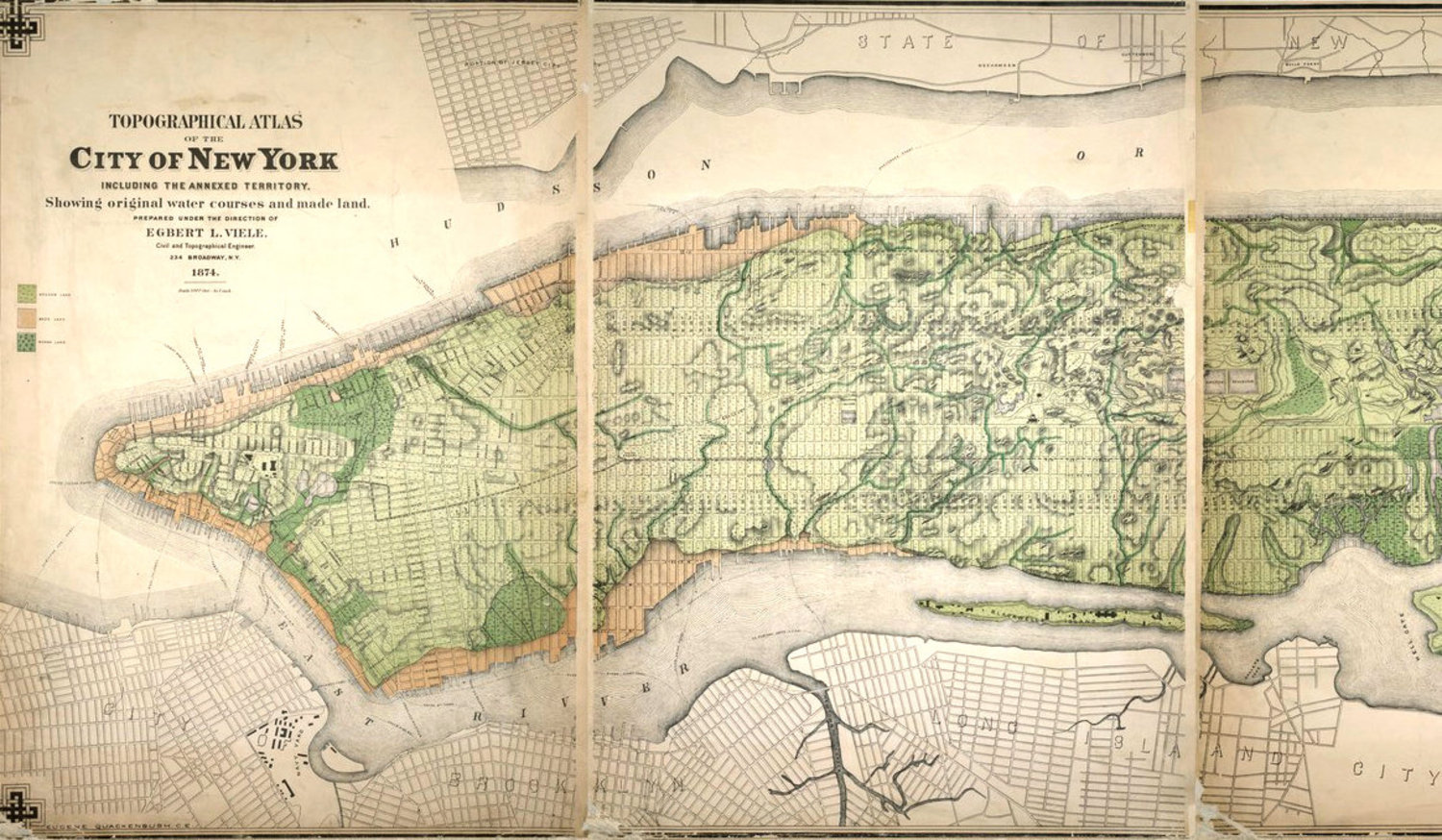 A topographical map of New York from 1874 showing original water courses.