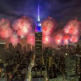 Fireworks over Empire State Building, Midtown, Manhattan